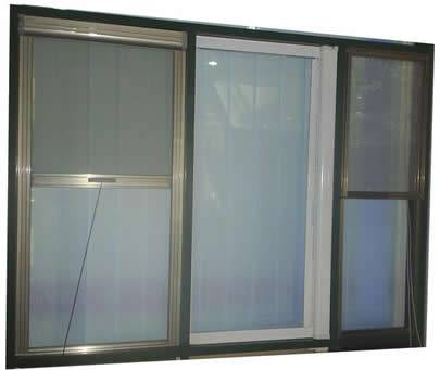 Three windows are made of aluminum insect screen.