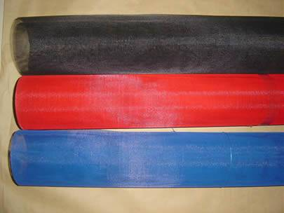 Black, red and blue color fiberglass insect screen rolls in a box.