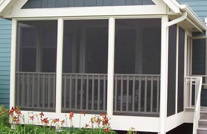 A porch screen is made of fiberglass window screen.