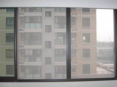 Two windows are made of stainless steel insect screen.